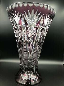 Vintage Mid Century Bohemian Cut Crystal Purple Vase, 12 1/2 Tall, 8 3/4 D