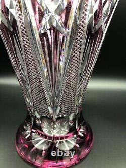 Vintage Mid Century Bohemian Cut Crystal Purple Vase, 12 1/2 Tall, 8 3/4 Dia