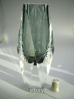Vintage Murano with label starburst cut facetted crystal glass vase Mandruzzato