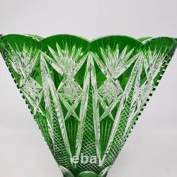 Vintage Nachtmann Bohemian Cut To Clear Crystal 6.5 Green Fan Vase