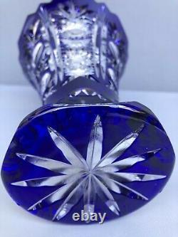 Vintage Nachtmann Germany Vase Cobalt Blue and Clear Cut Crystal
