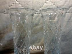 Vintage Pair Royal Brierley English Cut Crystal Footed 9 7/8 Tall Henley Vase