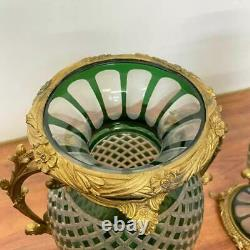 Vintage Pair of Large Green Italian Cut Crystal Gilded Ormolu Mounted Vases