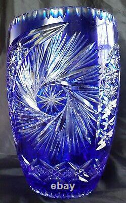 Vintage Poland Bohemian Cobalt Blue Cut to Clear Crystal 10 Vase Exquisite
