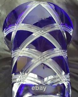 Vintage Poland Bohemian Cobalt Blue Cut to Clear Crystal 12 Vase Exquisite