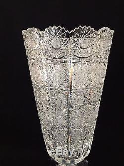 Vintage Queen Lace Bohemian Czech Hand Cut Glass Crystal Vase, 13 T X 6 1/2 D