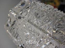 Vintage Queen Lace Bohemian Czech Hand Cut Glass Crystal Vase, 8 T X 3 3/4 Dia