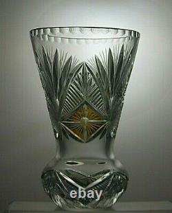 Vintage Rare Bohemia Crystal Cut To Clear Amber And Clear Vase 9 Tall