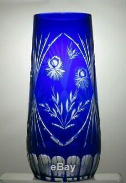 Vintage Rare Bohemia Crystal Cut To Clear Cobalt Blue Vase 11 3/4 Tall