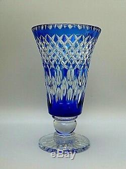 Vintage Rare Webb Corbett Crystal Cut To Clear Cobalt Blue Vase 13 1/2 Tall