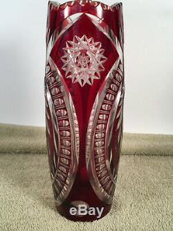 Vintage Red Czech Hand-cut Crystal Glass 10 & 1/2 Vase