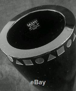 Vintage Sasaki Japan heavy hand cut black crystal vase 5.75 inches