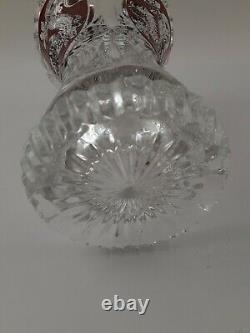Vintage Scalloped, Etched & Deep Cut Dragon Motif Vase 9H, 5-1/2W, 3.25 base