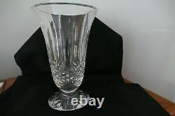 Vintage Signed Waterford Cut Glass Crystal Lismore Pedestal Flared Vase 10 Tall