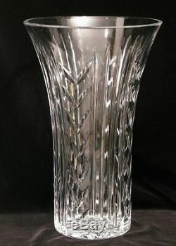 Vintage Signed Waterford Irish Crystal Vase Cut Glass Wheat Pattern 12 Large Sz