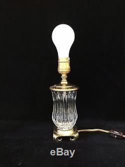 Vintage Small Cut Crystal Vase Table Lamp withBrass Base, 9 Tall