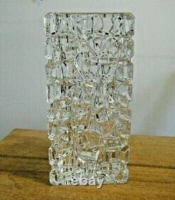 Vintage Tiffany & Co Signed Rock Cut Sierra 7 3/4 Triangle Crystal Vase