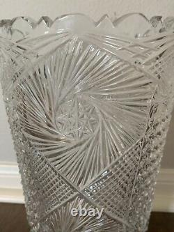 Vintage Turkish Crystal Vase 12 Large Heavy Hand Cut Glass