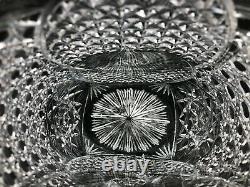 Vintage Turkish Hand Cut Crystal Glass Vase Sawtooth Rim, Signed by Artist