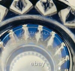 Vintage Val St Lambert Crystal Gold Danse de Flore Cobalt Blue Cut to Clear Vase