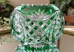Vintage Val St Lambert Green Cut to Clear Crystal Rose Bowl Vase, EXCELLENT