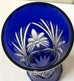 Vintage Vase Bohemian Cobalt Blue Cut To Clear Crystal 10 1/2 Beautiful Mint