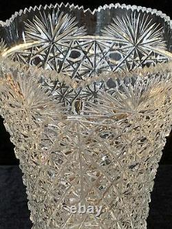 Vintage Vase Heavy Sawtooth Cut Glass 12