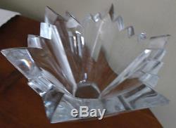 Vintage Very Heavy Crystal Hand Cut Glass Vase / Bowl 5 Tall X 7' Dia