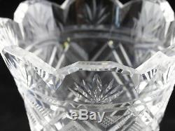 Vintage Waterford Unique htf Cut Crystal Glass Vase Acid Etched Signed 7 Mint