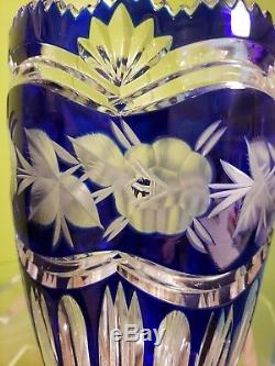 Vintage Western Germany Genuine Lead Crystal Hand Cut Vase, original stiker
