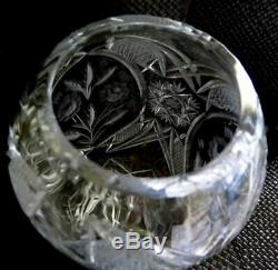 Vintage Zawiercie Cut Crystal Etched Large Vase Signed