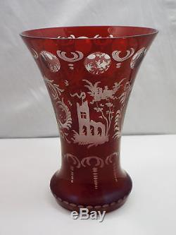 Vtg Bohemian Czech Ruby Red Cut to Clear Flared Crystal Glass Vase, Birds, 6 1/4