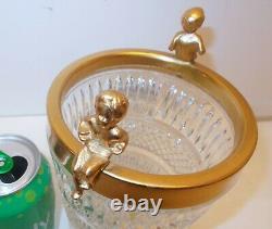 Vtg CUT Glass CRYSTAL Champagne Wine Ice Bucket VASE Gold Plated CHERUBS PUTTI