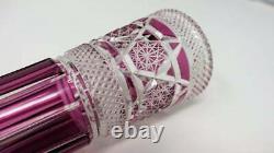 Vtg Czech Bohemian Crystal Amethyst Purple Cut to Clear Vase 12