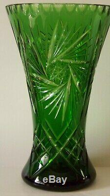 Vtg. Emerald Green Czech Bohemian Cut to Clear Large Crystal Vase 12 1/4 x 7