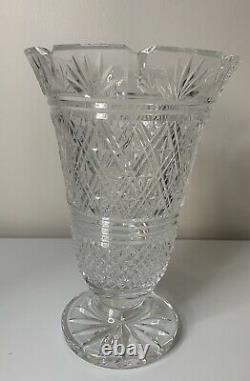 WATERFORD CRYSTAL Seahorse Signed Irish Cut Glass 10 Footed Vase