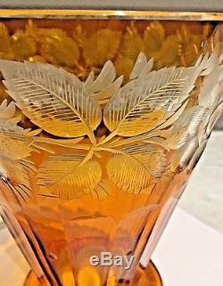 WHAT A BEAUTY! - Amber Crystal Glass Vase, Cut to Clear Flowers