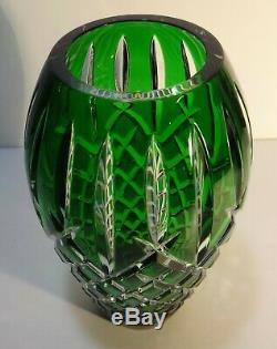 Waterford Crystal Araglin 9 Vase Emerald Green Cut To Clear