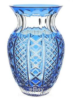 Waterford Crystal Azure Light Blue Cut to Clear Fleurology Molly Vase 12