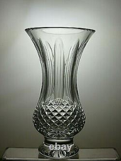 Waterford Crystal Cut Glass Vase Signed 9 Tall