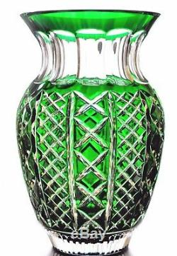 Waterford Crystal Emerald Green Cut to Clear Fleurology Molly 12 Bouquet Vase