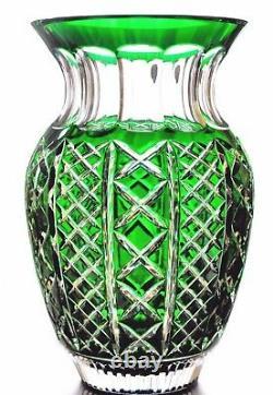 Waterford Crystal Emerald Green Cut to Clear Fleurology Molly 12 Vase No Box