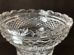 Waterford Crystal Hibernia Giftware Flower Vase 8 1/2 H Cut Fan Strawberry