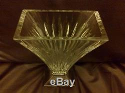 Waterford Crystal Large Vase Clarion Design Cut Vertical Lines Footed Base