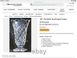 Waterford Crystal vase 10 tall hand cut scalloped rim very heavy stunning