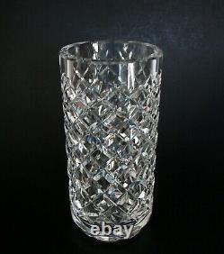 Waterford Cut Crystal Alana Footed Cylindrical Flower Vase Ireland signed 6