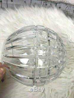 Waterford Glass Cut Crystal Large Round Rose Bowl Vase Candle 7 Beautiful