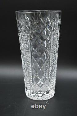 Waterford Irish Cut Crystal Clare Criss Cross & Fans 8 Flower Vase