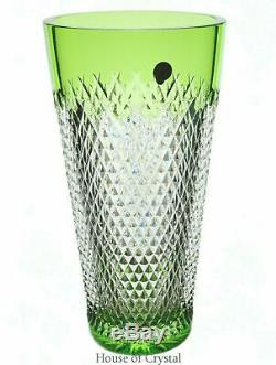 Waterford Prestige Alana Vase Lime 10 Cut to Clear Cased Crystal152053 NWOB