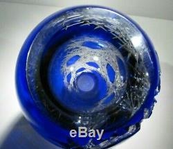 XL CAESAR CRYSTAL Blue Vase Hand Cut to Clear Overlay Czech Bohemian Cased